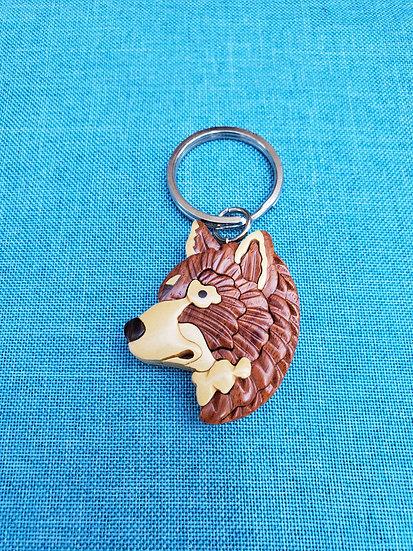 Wolf Wood Key Chain
