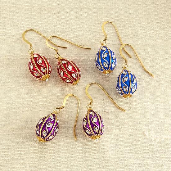Russian Egg Earrings (Blue)