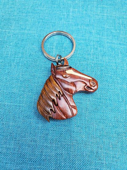 Horse Wood Key Chain
