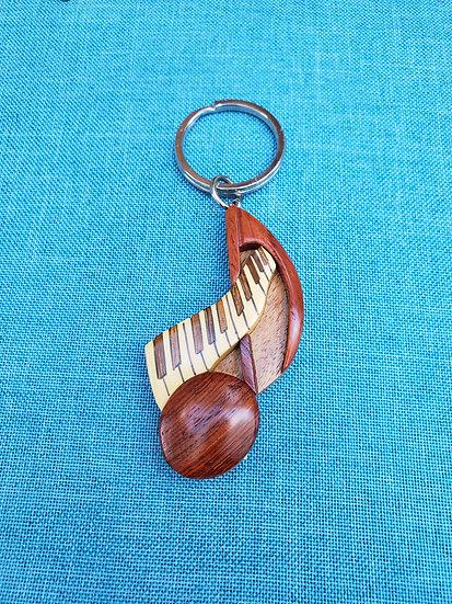 Note & Keyboard Wood Key Chain