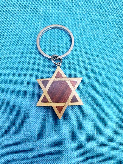 Star of David Wood Key Chain
