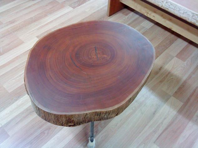 שולחן סלוני מפרוסת גזע ורגליים בעבודת נפחות