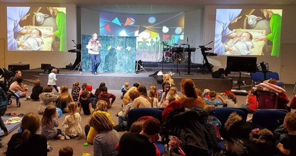 I am teaching the Christmas Story at Baglan Church's Christmas Party where families from the church's play group and Kids Club attended in great numbers.