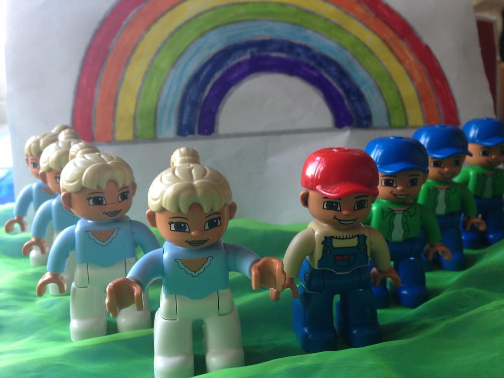 Mister Noah's family and the Rainbow