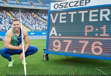 El alemán Johannes Vetter superó los 97m y rozó el récord del mundo de lanzamiento de jabalina