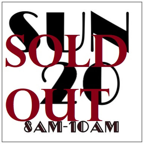 PRIORITY BOOKING SUNDAY OCT 20, 2019 8AM-10AM