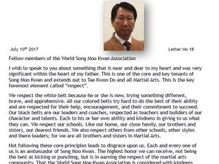 Lettera del nostro Presidente Mondiale Hee Sang Ro