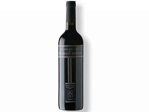 Botella de vino tinto El Malbec de Ricardo Santos