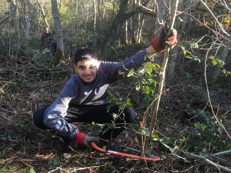 Fire Making, Tree Sawing and Path Clearing - Langley Academy Students Visit Chiltern Rangers