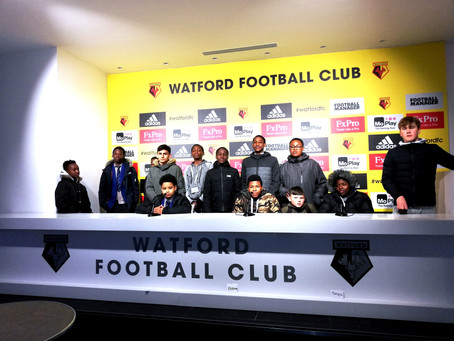 """John Fisher School's """"Press Conference"""" at the Watford Football Club for World of Work"""