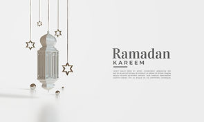 Ramadan kareem 3d render with hanging li