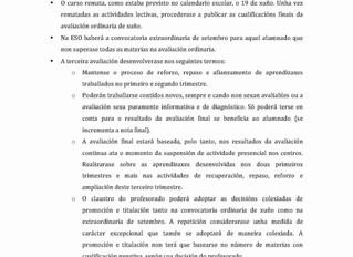 Información sobre o desenvolvemento da 3ª avaliación
