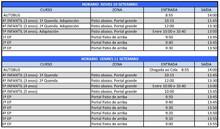 Horarios de entrada dos días 10 e 11 de setembro