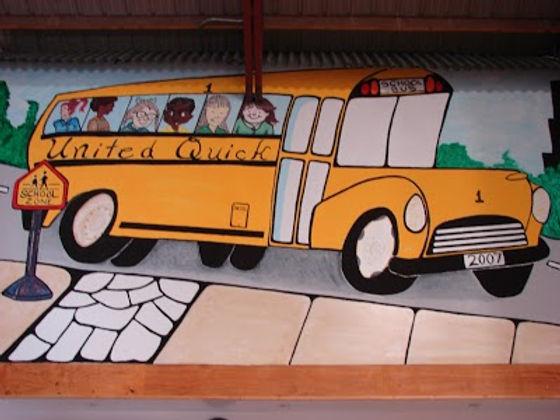United Quick school bus painting