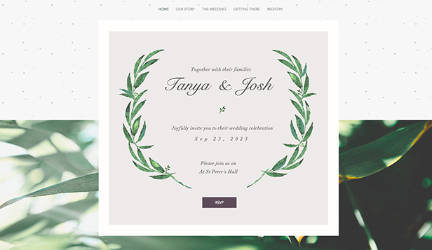 Invitation website templates heart one page wedding invitation.
