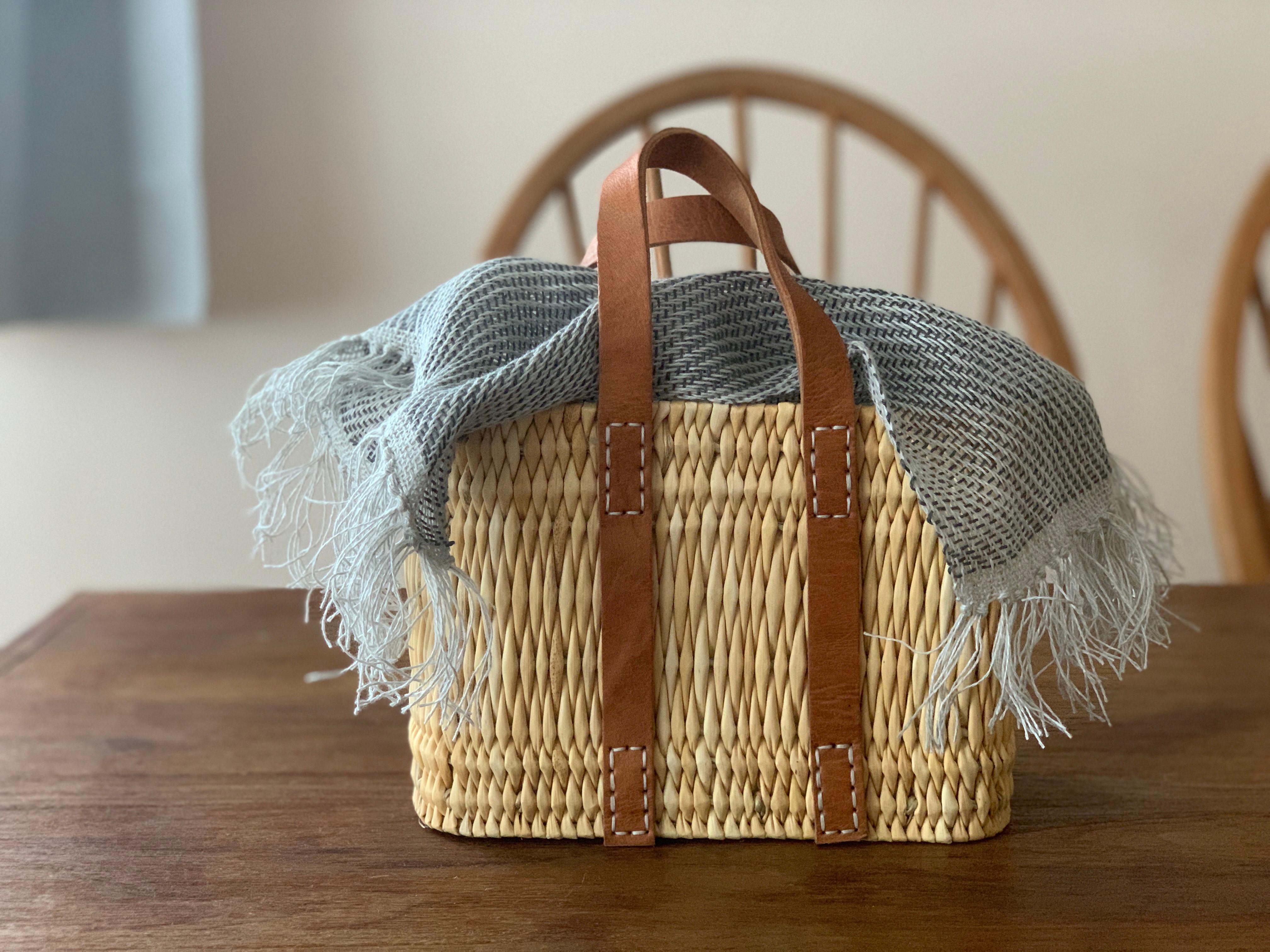 ⑩⑪リネンの糸でカゴカバーを織ろう小bag付き