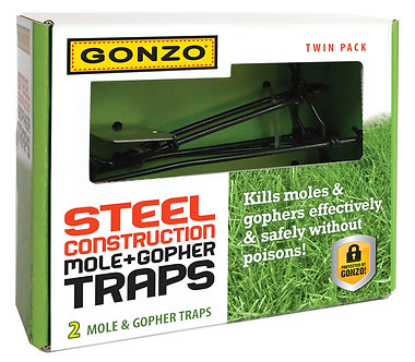 GONZO® 5000 STEEL CONSTRUCTION MOLE & GOPHER TRAP - TWIN PACK