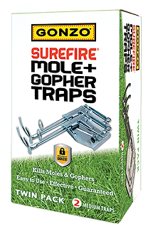 GONZO® 5005 SUREFIRE® MOLE & GOPHER TRAPS - TWIN PACK