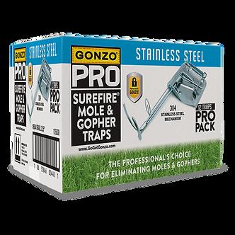 GONZO® PRO Stainless Steel SUREFIRE® MOLE-GOPHER TRAPS - BULK