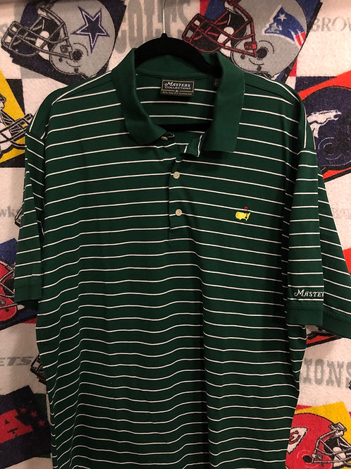 Masters green striped polo XL
