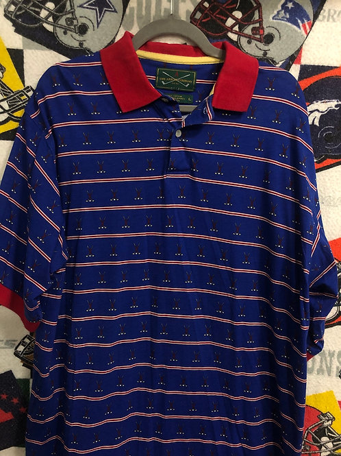Vintage striped golf polo large