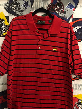 Masters red striped polo XL