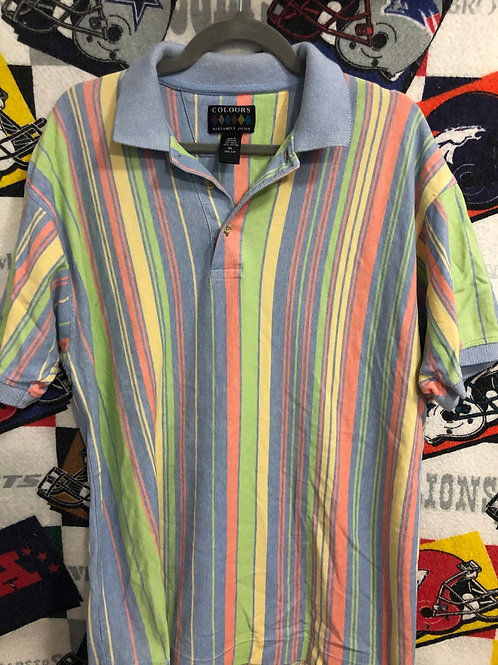 Vintage striped pastel polo XL