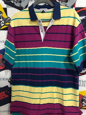 Vintage striped polo large