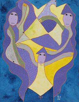 Levoy Exil - Les trois jumelles - Oil on