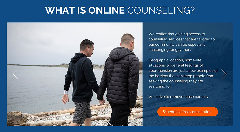 Online counseling for gay men and couples.