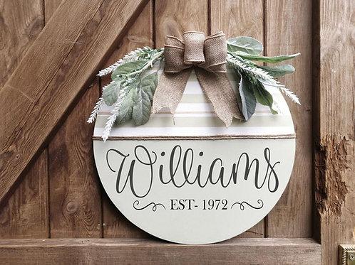 Personalised Wooden Front Door Wreath Sign