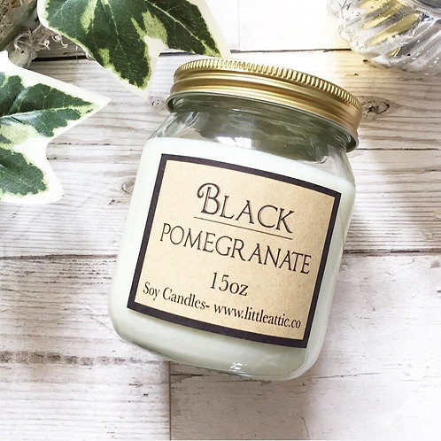 Black Pomegranate Scented Soy Candle 15oz