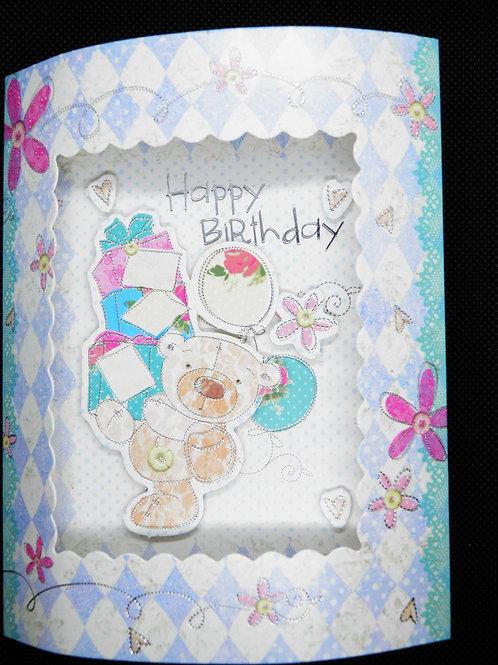 Birthday Card -3D - Birthday Hugs & Wishes