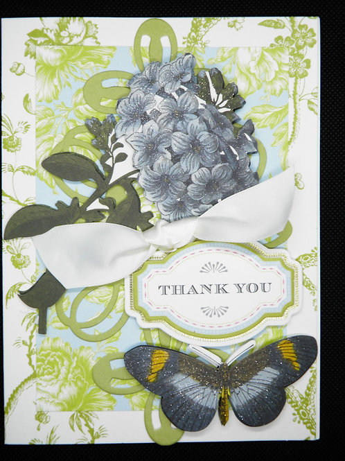 Thank You - Flowers & Butterfly