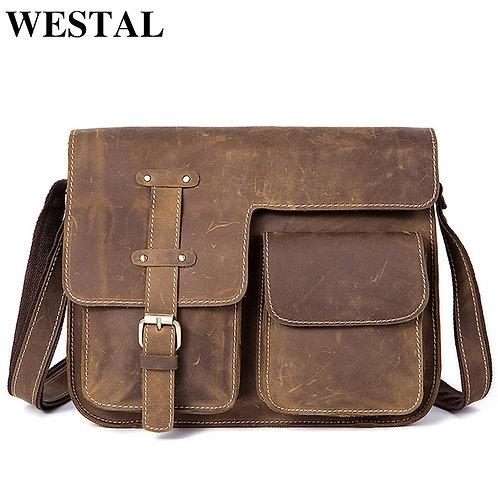 Genuine Leather Men's Shoulder Bag  Horse Vintage Leather