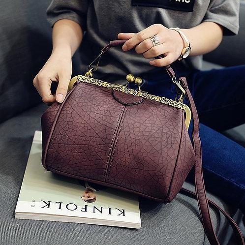 Women Shoulder Handbag  Clip Crossbody Zipper Hasp Tote Leather Bag