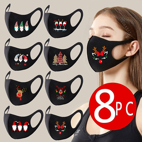 8PC  Christmas Facemask Party Mask Unisex Face Masks