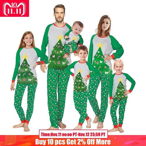 Family Matching Cloth Christmas Pyjamas Sets  Kids Reindeer Christmas Tree Sleep