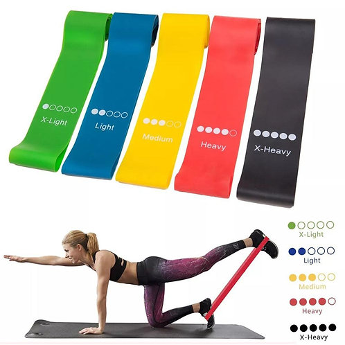 Yoga Resistance Rubber Bands Fitness Gum X-Light to X-Heavy Pilates Sport .