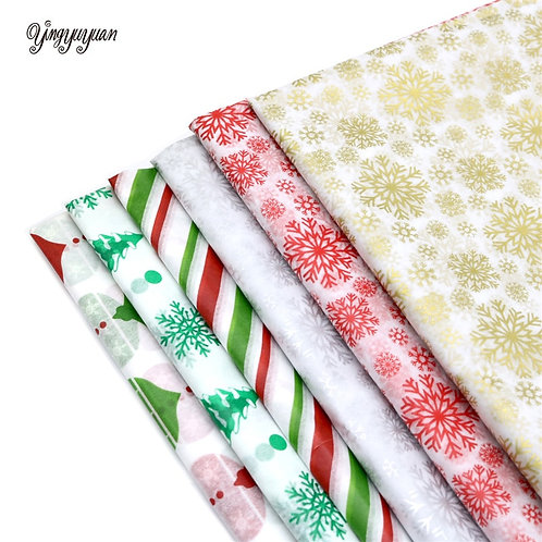 10Pcs/Bag Snowflake Print Wrapping Tissue Paper 50*66 Cm Christmas  Packaging