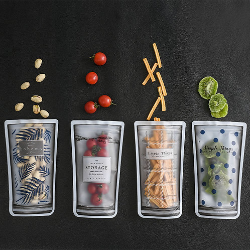 4 Pcs Reusable Ziplock Bag Portable Transparent Candy Plastic  for Freezing Food