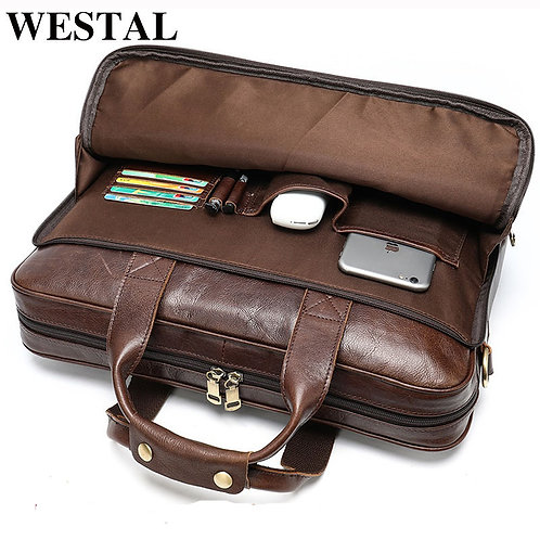 Men's Leather Laptop Briefcase  Genuine Leather