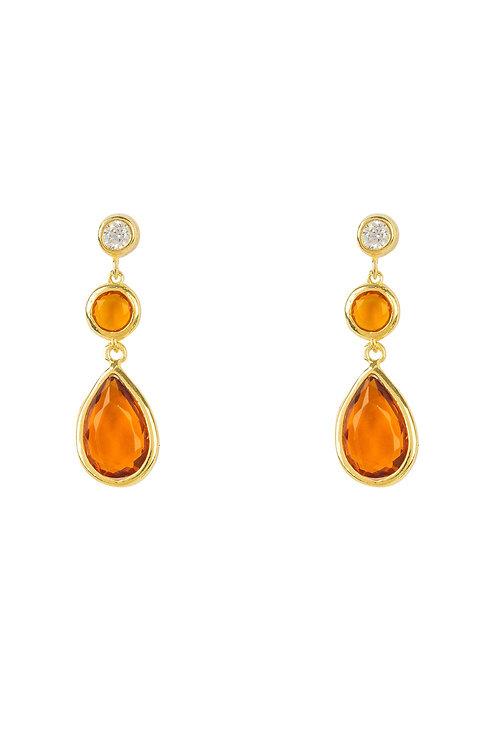 Tuscany Gemstone Drop Earring Gold Citrine