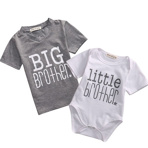 Big Brother  Little Brother Cotton T-Shirt Bodysuit Short Sleeve