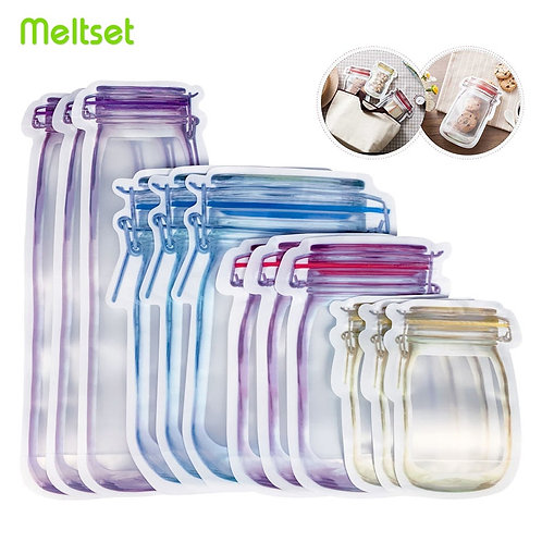 Reusable Mason Jar Bottles Bags Nuts Candy Cookies Waterproof Seal Fresh Snacks