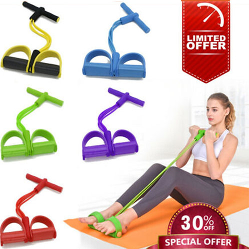 Tube Fitness Elastic Pull Rope Foot Pedal Body Resistance Workout Latex Bands