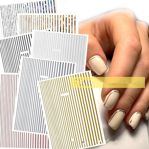 1 Piece Rose Gold Silver 3D Nail Sticker Curve Stripe Lines Nails Stickers