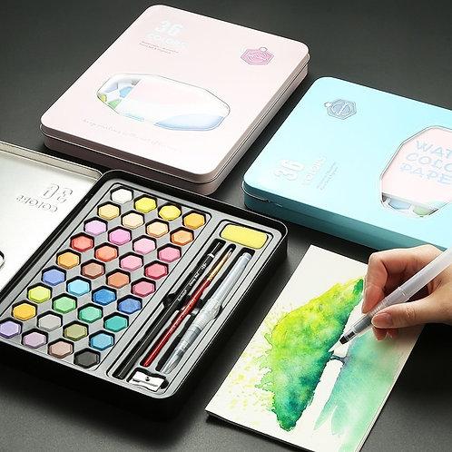 High Quality 36 Colors Portable Travel Solid Pigment Watercolor Paints Set
