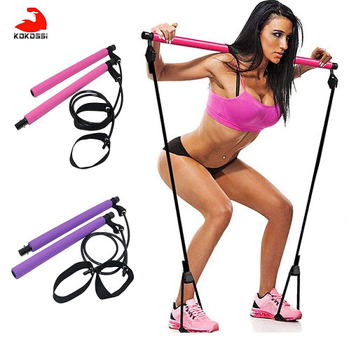 Fitness Sport Pilates Bar Kit  Workout Stick  Exercise Bar With Resistance Band