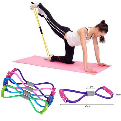 New Gym 8 Word Elastic Band Chest Developer Rubber LOOP Latex Resistance Bands